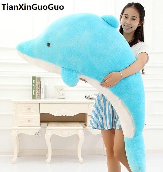 cute blue dolphin plush toy large 140cm cartoon dolphin soft doll hugging pillow birthday gift s0887 free shipping 35cm soft plush toy doll cute totoro hayao miyazaki large pillow cushions cartoon doll birthday gift