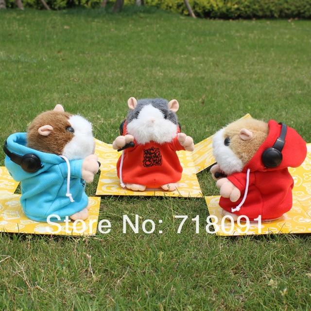 Talking Toy DJ Version Hamster,Stuffed Plush Mouse,Speaking Animal,15x13x12cm,4PCS/LOT,No Packing,Drop Shipping