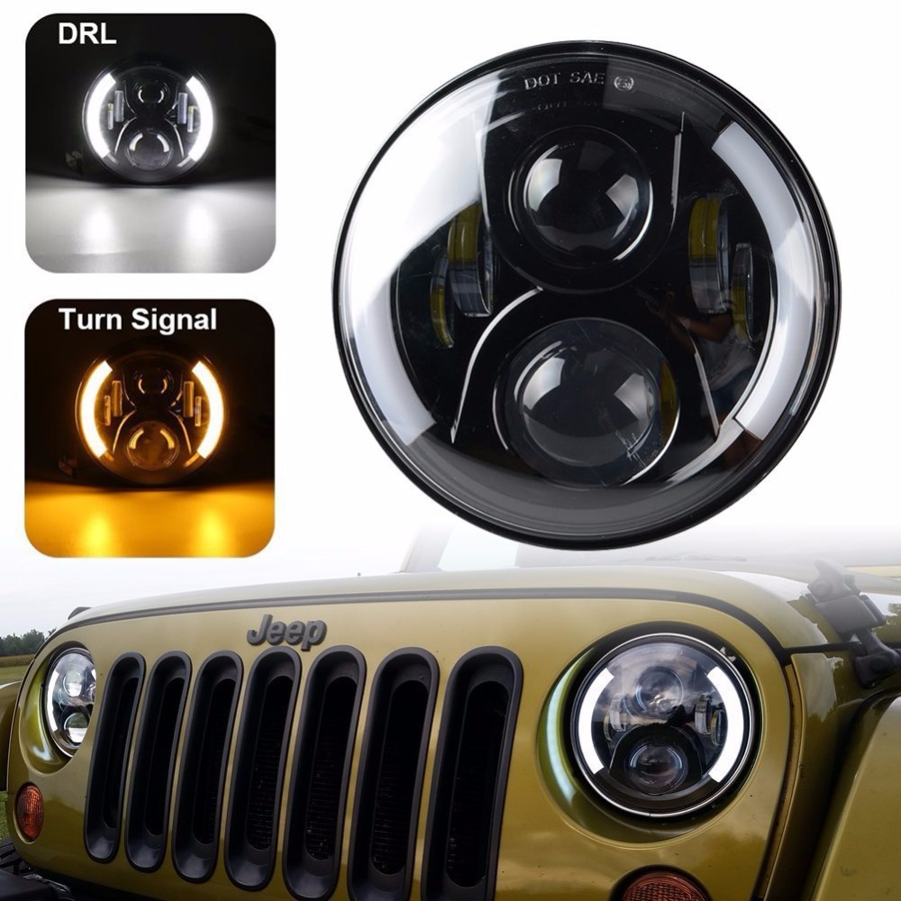 7 LED Headlight for Jeep Wrangler JK Headlamp with Halo Angel Eye & Turn Signal Lights & DRL