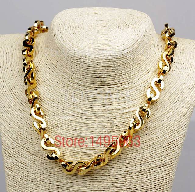 DASN161 HOT SALE 316L stainless steel necklace wide S collar GOLD color luxury pendant collier for women necklaces