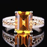 HELON Soild 14K Yellow Gold Flawless Emerald Cut 10x8mm 1.97ct Natural Citrine Diamonds Engagement Wedding Lady Jewellery Ring