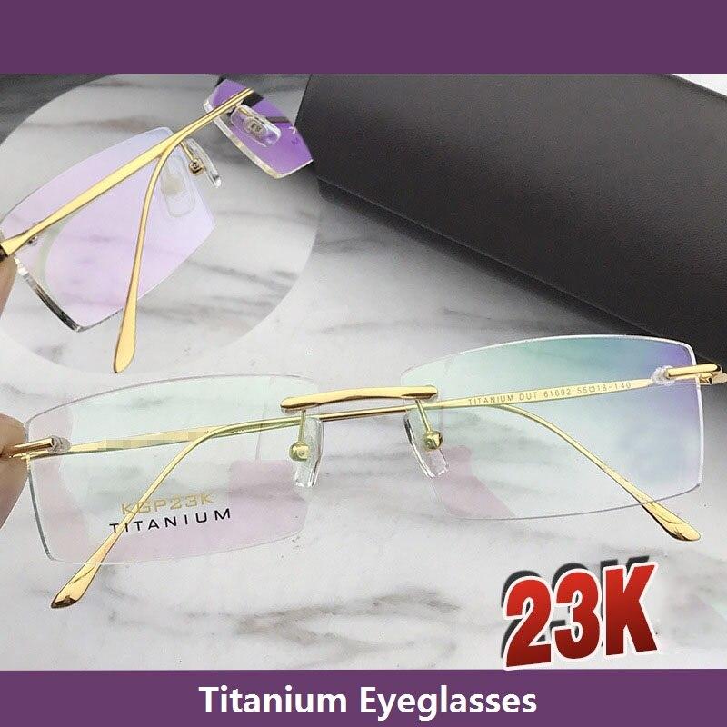 Cubojue 23 k montura de gafas de oro para hombre gafas sin montura de titanio para hombre gafas de marca masculina