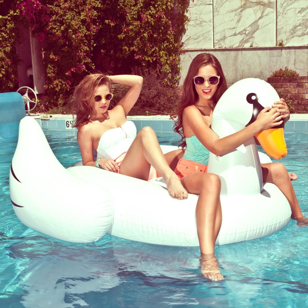 Giant 190 Cm Inflatable White Swan Pool Float Swan Pool