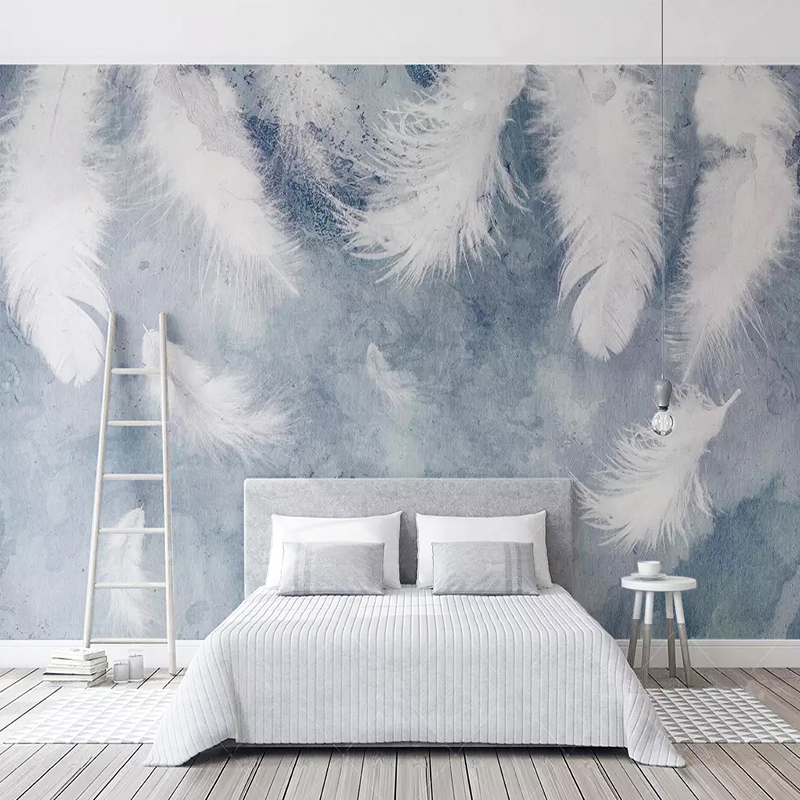 Custom Photo Wallpaper Modern 3D Chinese Ink Hand-painted Feathers Murals Wall Papers Living Room Bedroom Papel De Parede Decor