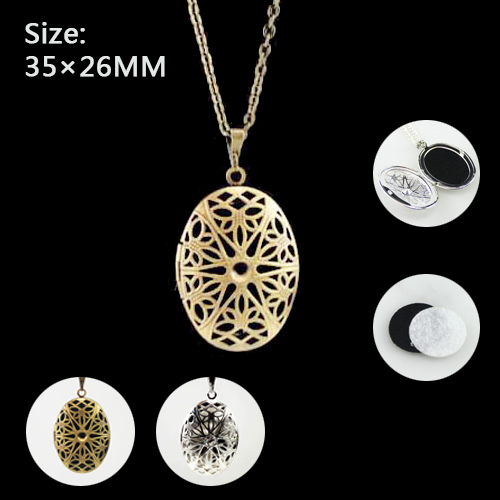 1PC 35x26MM Oval Diffuser Locket Necklace with felt pad Aromatherapy Essential Oil Diffuser Lockets For Perfume DIY Jewelry