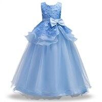Adolescente vestido de la Fiesta de cumpleaños Niños Niña de las Flores Vestido de Princesa elegante Vestido Sin Mangas de Encaje de La Boda Desfile Formal Vestido de Pétalos