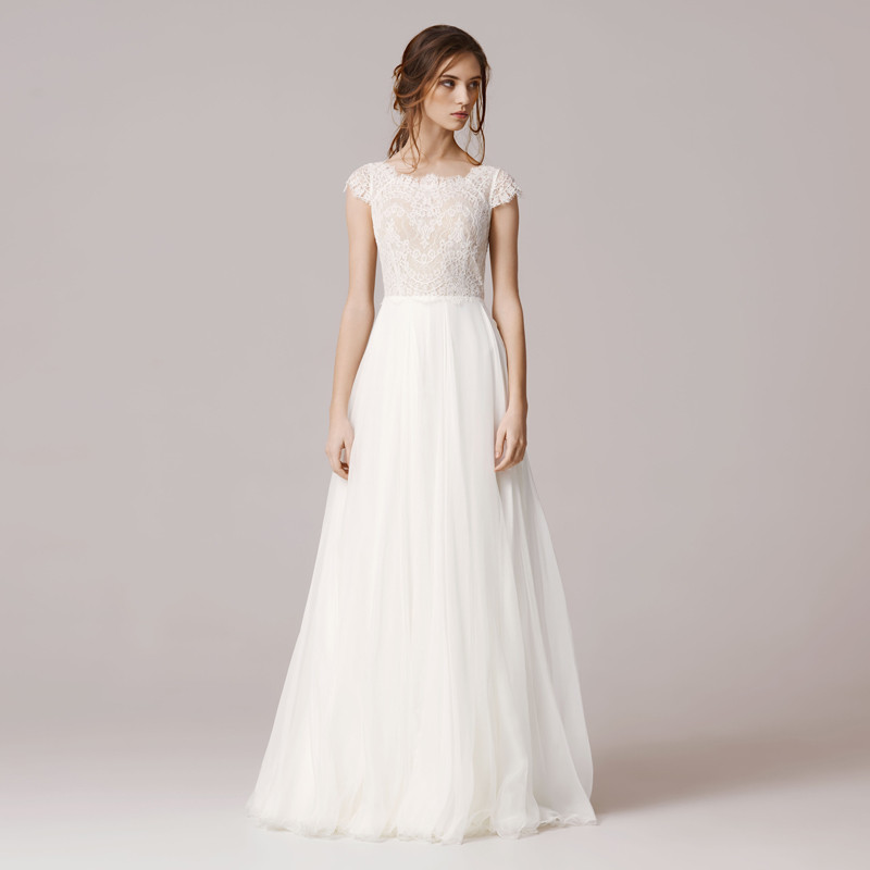 Simple Long A Line Cap Sleeve Train Lace Wedding Dresses: 2017 A Line Lace Wedding Dress Floor Length Chiffon Tulle