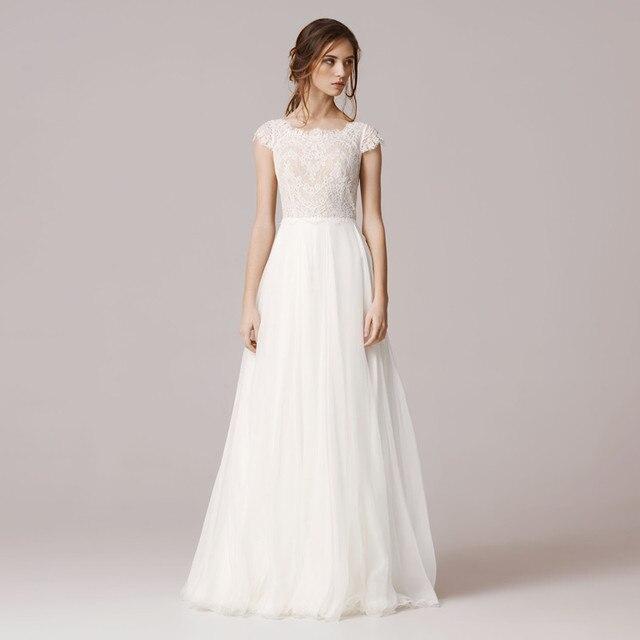 73ea8cb58fd 2017 A Line Lace Wedding Dress Floor Length Chiffon Tulle vestido de novia  Square Neckline Cap