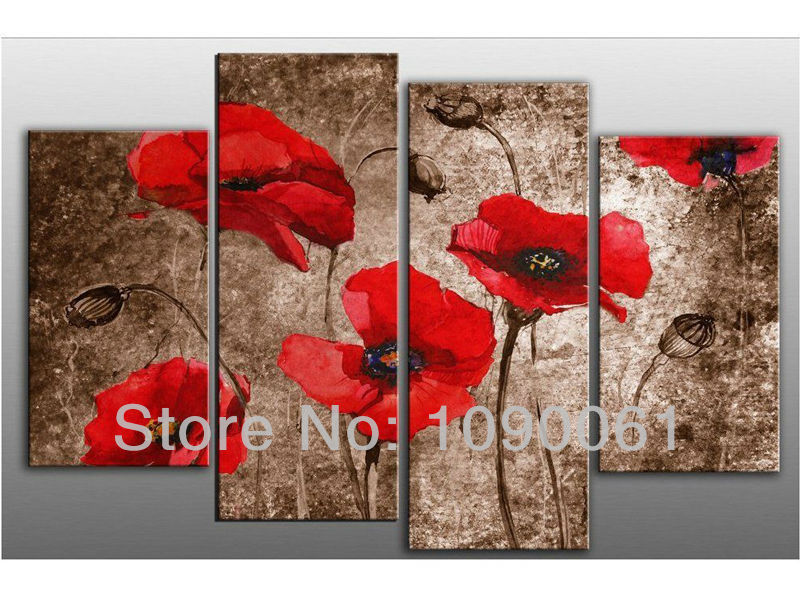 Handpainted Abstract Red Poppy Flowers Oil Paintings