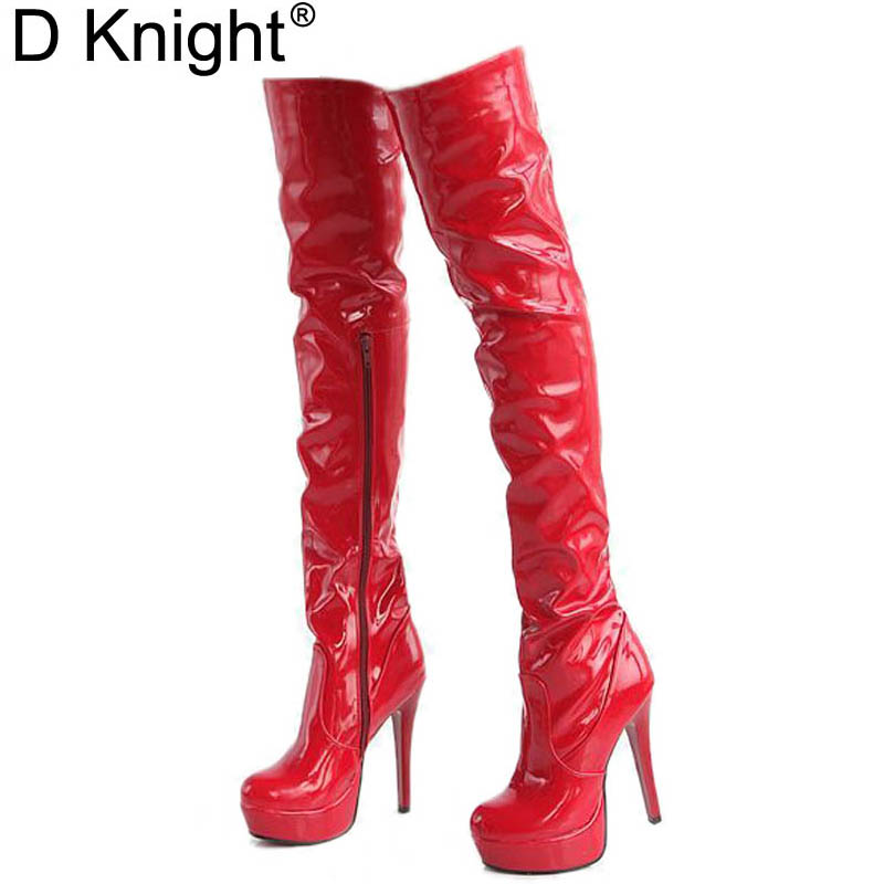 Women High Heels Tall Boots Sexy Patent Platform High Heeled Over The Knee Boots For Women Ladies Pole Dancing Boots Size 34-43 sexy patent leather thin heels women knee high boots big size ladies platform high heels pole dancing boots women mid calf boots