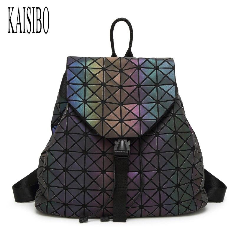 KAISIBO Women Backpack Fashion PU Geometric Backpacks For Teenage Girls Bagpack Drawstring Bag Travel Luminous School Bags