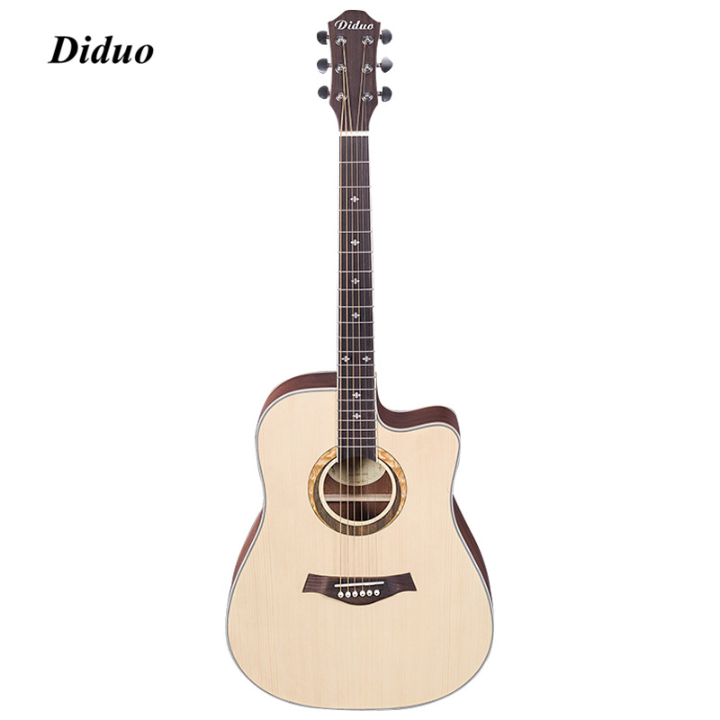 DIDUO Acoustic Guitar Rounded Corner Cutaway Acoustic Guitar Solid Wood Top Strap String Pick Hand Exerciser Wound Guitarra handmade new solid maple wood brown acoustic violin violino 4 4 electric violin case bow included