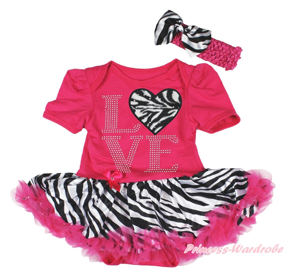 Valentine Rhinestone LOVE Heart Pink Bodysuit Girls Zebra Baby Dress Set NB-18M