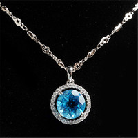Natural Blue Round Crystal Pendant Fashion 925 Sterling Silver Zircon Jewelry Pendant Trendy Necklace Charms Suspension Pendant