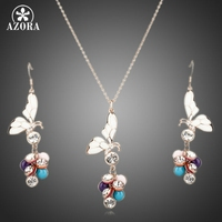Unique Design 18K Gold Plated SWA ELEMENTS Austrian Crystal Butterfly Earrings And Necklace Set FREE SHIPPING