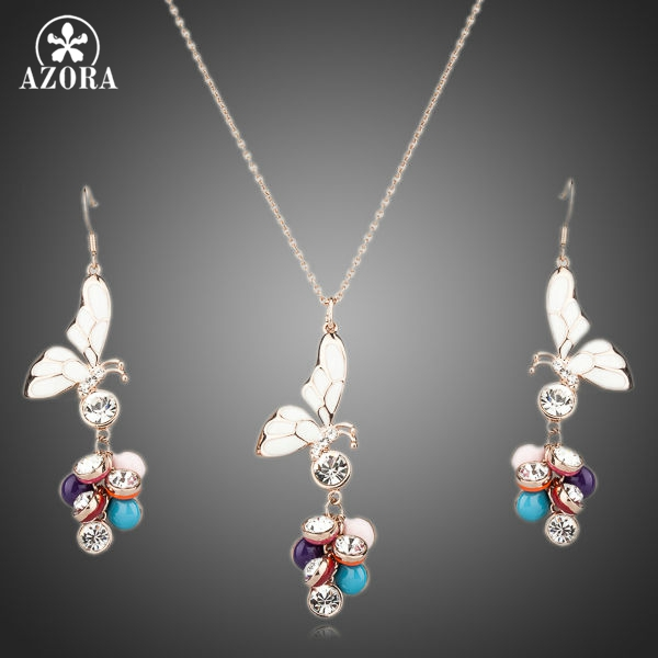 AZORA Unique Design Gold Color Stellux Austrian Crystal Butterfly Earrings and Necklace Set TG0063