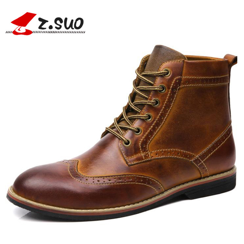 Genuine Leather Men Boots Vintage Brogue College Style Ankle Boots Men Fashion Autumn Winter Shoes For