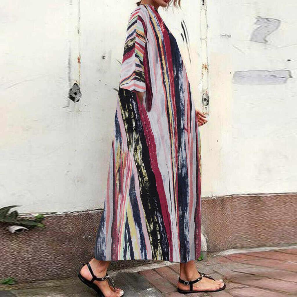 2019 Wanita Fashion Musim Panas Kasual Plus Ukuran Multicolor Vintage Stripe Kaftan Wanita Longgar Linen Lama Maxi Gaun Sukienka 50