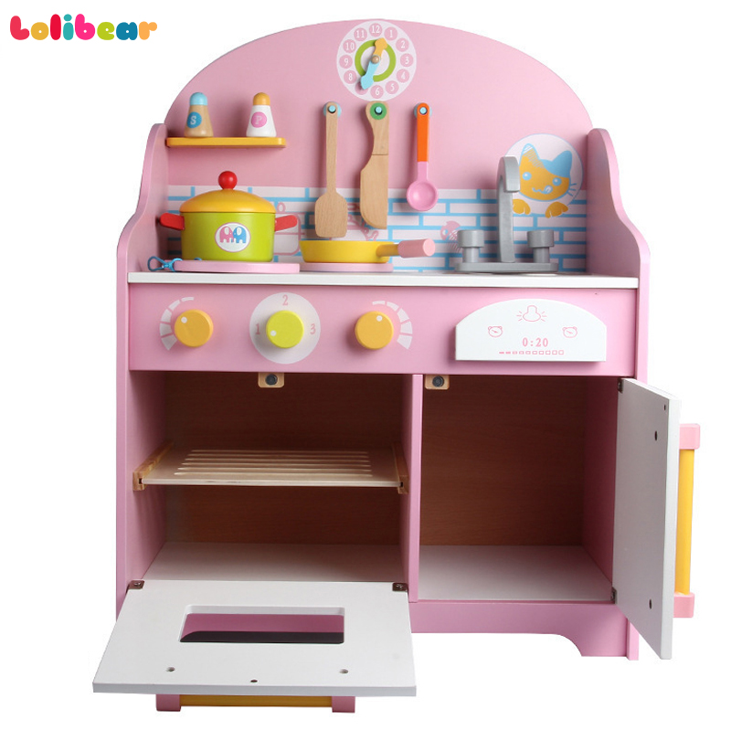 Kids Wooden Kitchen Toys Simulation Japanese Kitchen Style Pretend Play Cooking Stoves with Sound Storage Drawer
