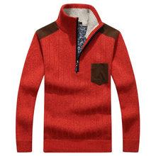 c70db9a2838 2018 Осень Зима для мужчин толстый свитер пуловеры для женщин на молнии  Стенд воротник Slim Fit свитеры мужской вязаный Топы кор.