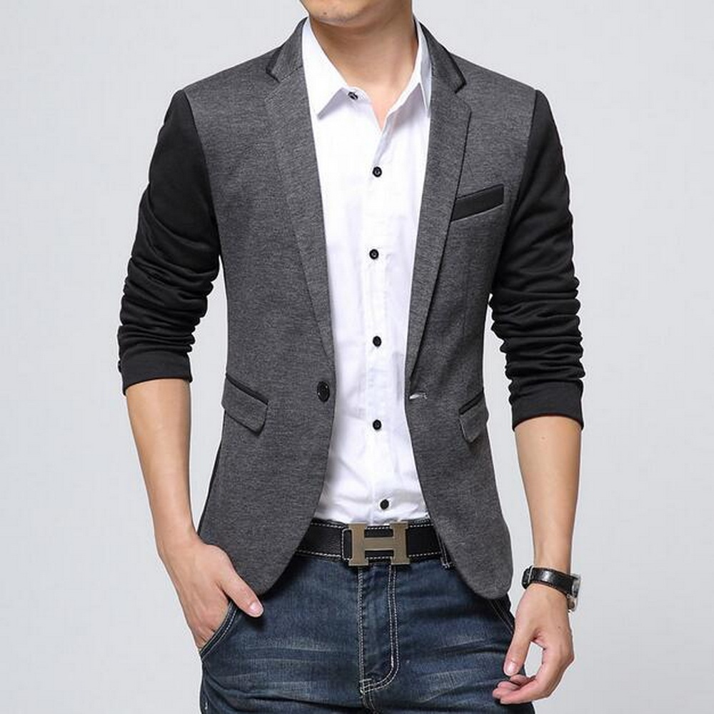 VXO Slim Blazer Suits Jacket Male Cotton Masculino New for Men Patchwork