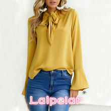 Fashion Women Tops Long Sleeve Bow flare sleeve Lady Basic Tee blusas Solid Color Tops 4 colors Laipelar недорого