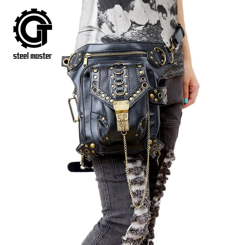 Steam Punk Vintage Rocking Women Messenger Bag Cross body Bags Individuality Leather Travel Shoulder Leg Bags