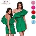 BellyAnna 2016 Nuevos Volantes Cuello de Slash Sexy Mujeres se Visten de Verano Fuera Del Hombro Vestidos de Las Niñas de Color Caramelo Vestido de la Playa Vestidos