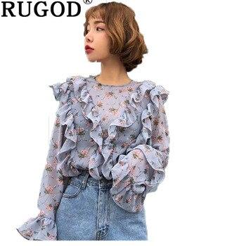 061b1099e RUGOD de gasa Casual camisas para mujeres de moda Floral impreso volantes flare  manga blusa coreano de mujer Oficina Vintage usar femme