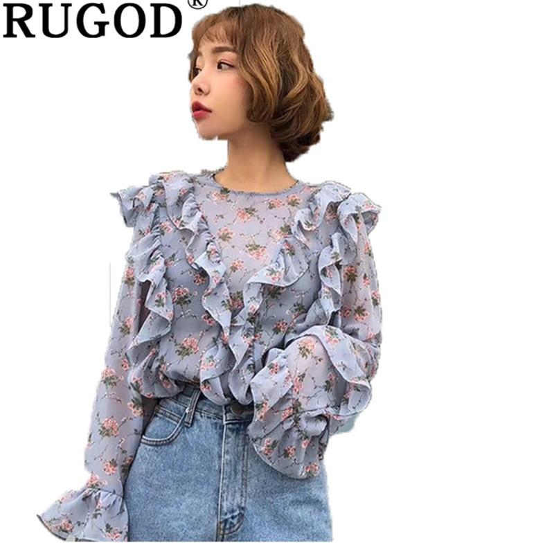 RUGOD повседневное шифон рубашки для мальчиков для женщин Мода с цветочным принтом свитер с рукавами клеш блузка Женский Корейский Винтаж офисная
