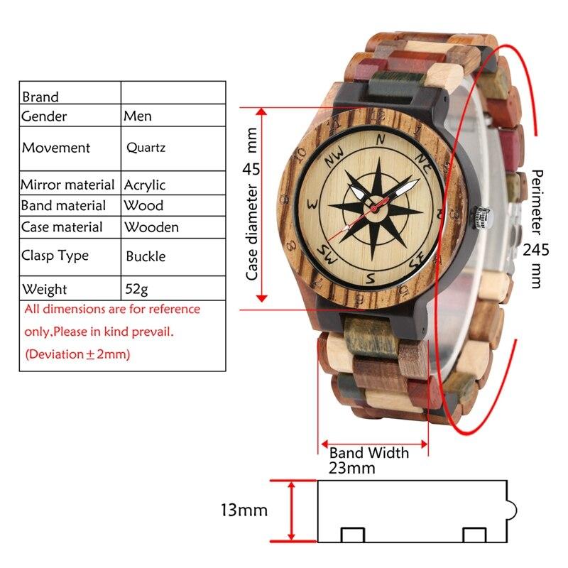 Creative Compass Dial Wood Watch Men Bamboo Watch Male Clocks Retro Full Wooden Wrist Quartz Watch Top Luxury Mens Watches 2019 2020 2022 2023 (9)