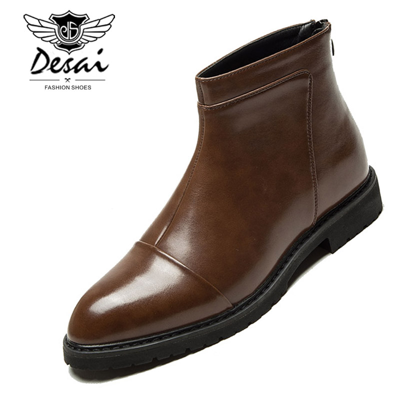 Spring Men s Chelsea Boots New Style Fashion Simple Boots Black and brown Soft Leather Business