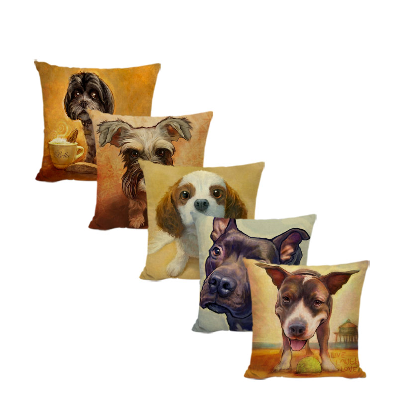 Cuteness Golden Retriever Schnauzer Throw Pillow Case 45*45cm French Bulldog Pug Square Home Office Sofa Decorate Cushion Cover