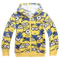 2016 Spring Autumn Children Cotton Boys Jacket Girl Coat Minions Kids Clothes Hooded Baby Outerwear Coats