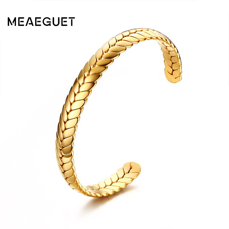 Meaeguet Wide 8MM Stainless Steel Cuff Open Wheat Bangle Armband För Kvinnor Trendiga Party Smycken De Trigo Aberto Braceletete