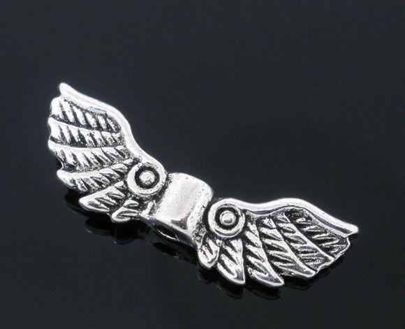 DoreenBeads 50 старинное серебро Angel Wing Шарм распорки металлические бусины для DIY 22×7 мм
