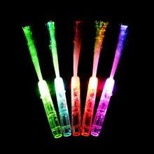 50pcs/lot Glowing Fiber Optic Stick Toy 3 LEDs Flashing Magic Wand Light Stick Novelty Colorful Led Stick Toys Party Birthday