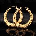 U7 Бамбук Хооп Серьги Для Женщин Желтого Золота Гальваническим Корзина Заявление Большой Круглый Серьги Ювелирные Изделия E131