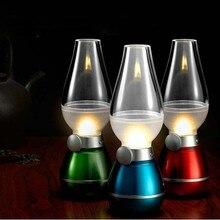Ретро Классический УДАРА СВЕТОДИОДНЫЙ светильник USB Перезаряжаемые реагирующая на задувание керосиновая лампа ночник в виде свечи Ночная настольная лампа настольная светодиодная лампа, синий