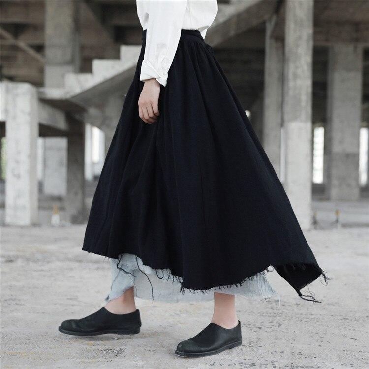Largo Novedad Mujeres Falda Rasgado Negro Alta Japonés De Lino Faldas Goth Medio Cakucool Nueva Asimétrica Maxi Roto Gótico Cintura y05C5Zwqt