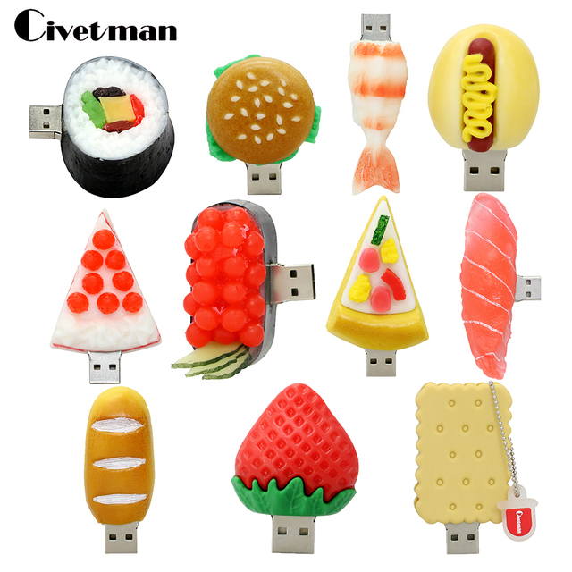 Pendrive Cartoon Korean Sushi Hamburger Food USB Flash Drive Bread/Pizza Pen Drive 4GB 8GB 16GB 32GB Memory Stick U Disk Gift