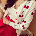 Free Shipping Spring Autumn New Arrival Fashion Cherry Embroidery Long Sleeve Short Knitting Cardigan