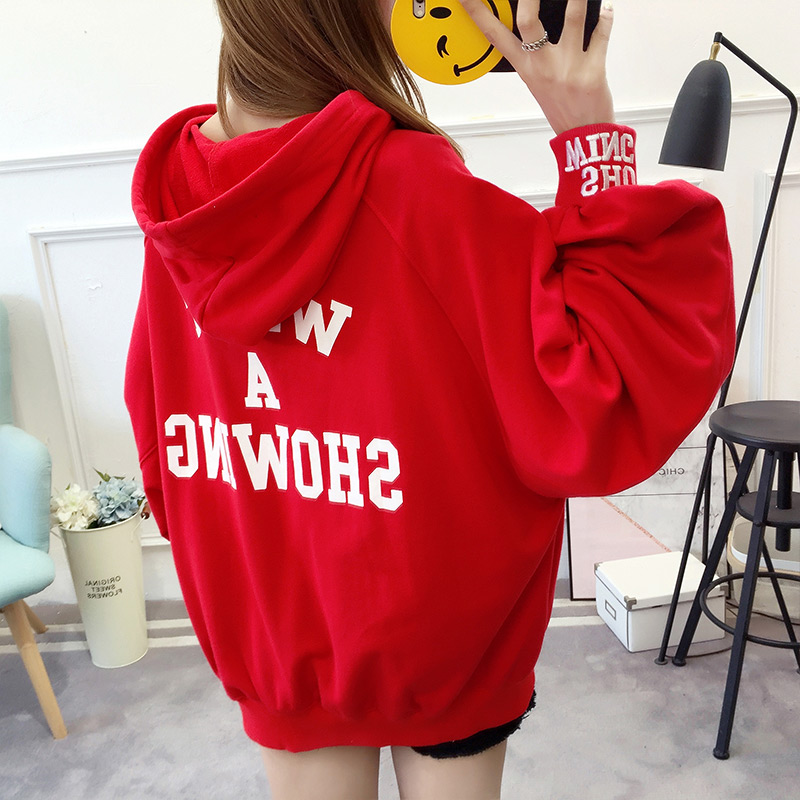 Clothing Coat Jackets Youth Korean-Style Autumn Womens Plus-Size Hooded for Loose K4640