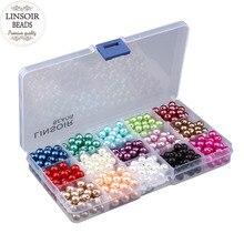 Envío Libre 8mm 600 unids/set 15 Colores, ABS perlas de Imitación Perlas y Fabricación de La Joyería DIY, Granos de La Joyería Pulsera hecha a mano F2980