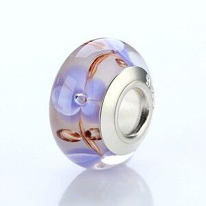 Популярные Аутентичные Серебристые Серые Цветочные европейские стеклянные бусы для женщин браслет и ожерелье аксессуары WEU6355