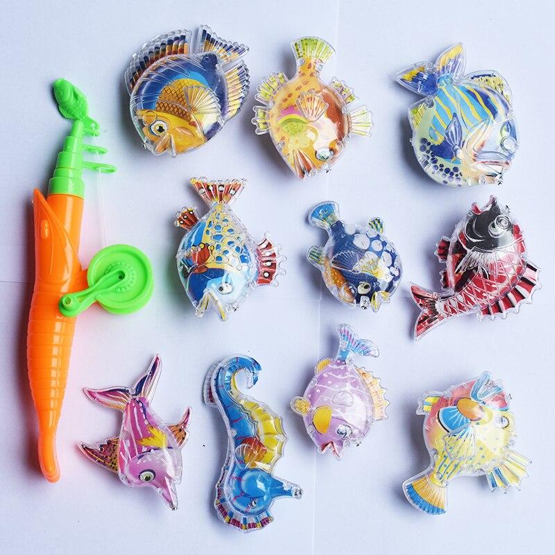 NEW 11pcs Set Magnetic Fishing Parent child interactive Toys Game Kids 1 Rod 10 3D Color