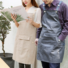 linen Waterproof Apron Cooking Kitchen Apron For Woman Men Chef Cafe Shop BBQ Aprons with pocket Baking Restaurant Pinafore bib rainbow unicorn waterproof cooking baking apron