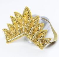 New 2016 Spring And Summer Children Girls Hair Accessories Baby Beading Hair Band Gold Baby Crystal