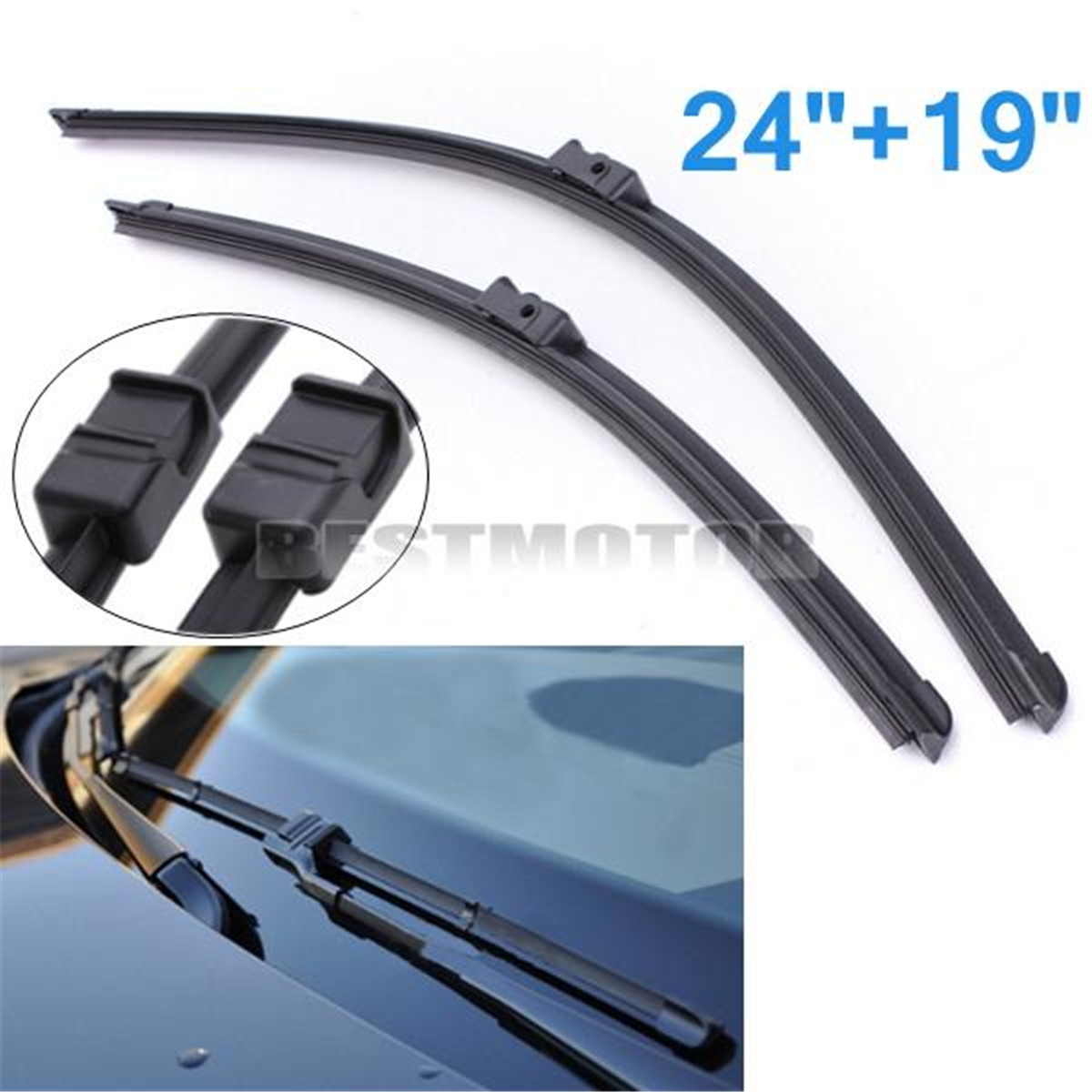 Pair 24 19 aero flat front rubber rain window windscreen wiper blades for audi