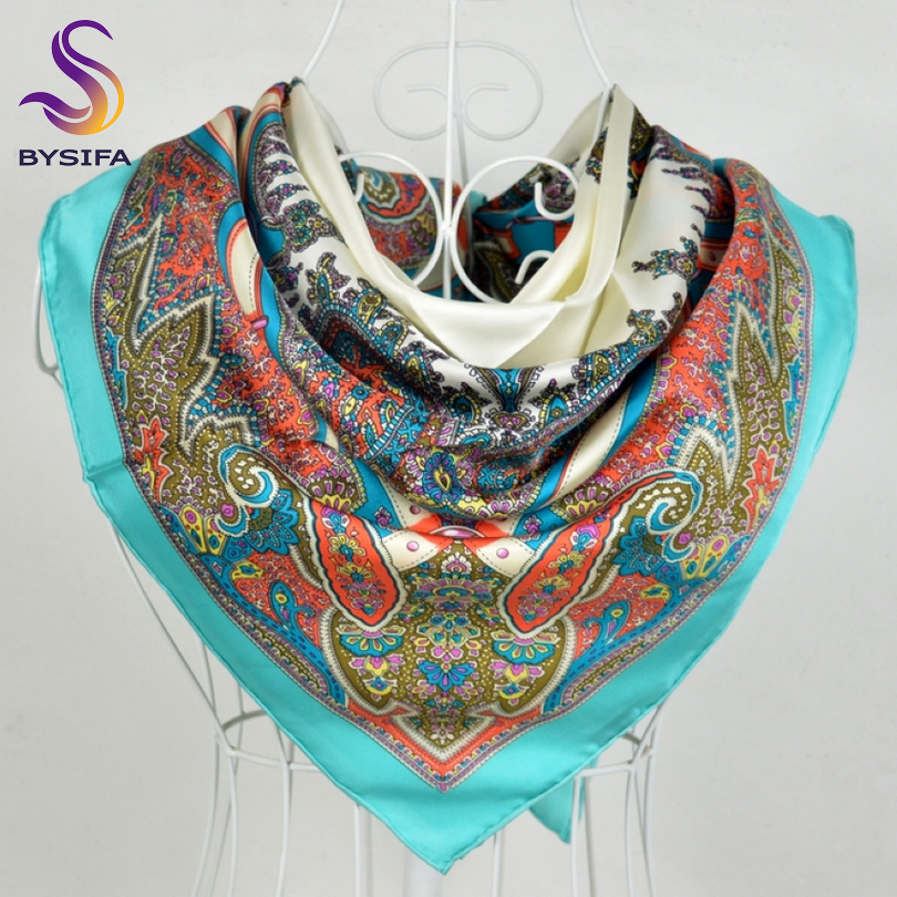 [BYSIFA] Blue Twill Silk Scarf Top Grade Luxury Brand 100% Pure Silk Square Scarves Wraps 90*90cm Autumn Winter Women Neck Scarf